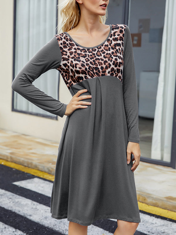 Leopard Print Patchwork Loose Waist Pleated Long Sleeve Dress - Luckinchic