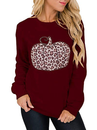 Casual Round Neck Pumpkin Print Long Sleeve Sweatshirt Pullover Top - Luckinchic