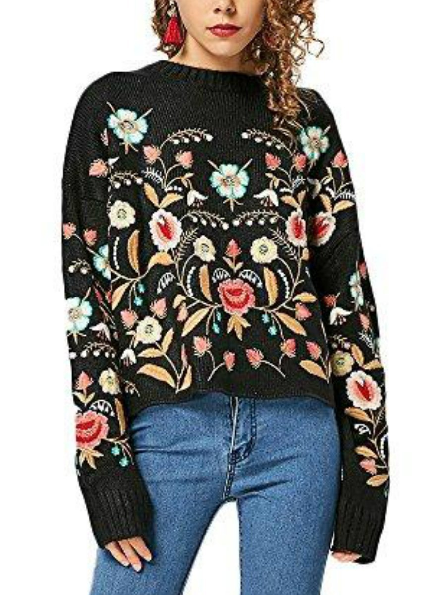 Embroidered Oversized Floral Sweater - LuckinChic.com