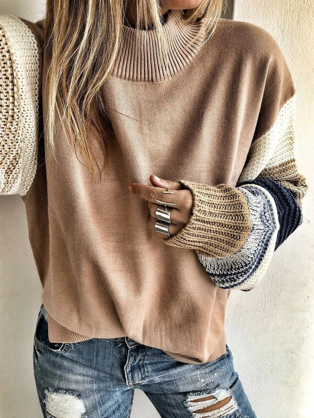Casual Pullover Round Neck Patchwork Long Sleeve Sweater - Luckinchic - LuckinChic.com
