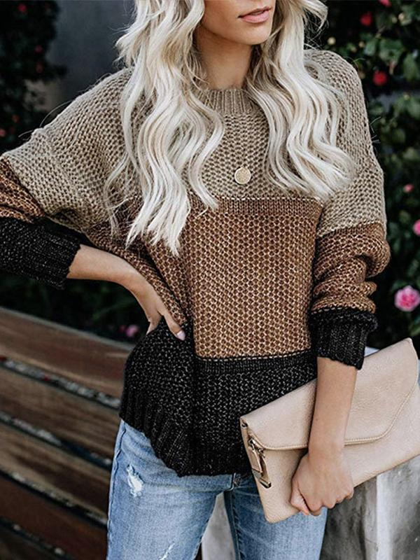 Casual Pullover Striped Long Sleeve Round Neck Sweater - LuckinChic.com