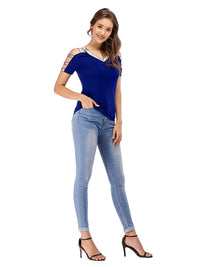 Sexy V Neck Cold Shoulder Hollow Out T-Shirt - Luckinchic