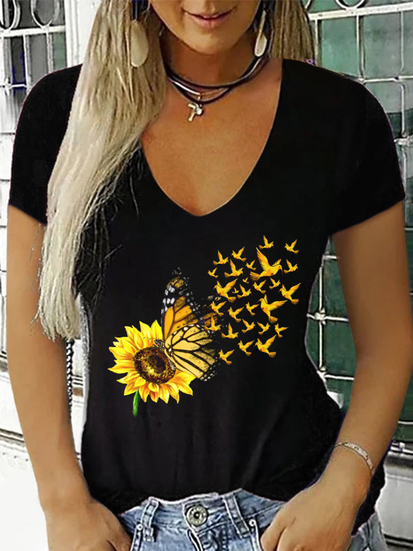 Combed Cotton Casual V Neck Butterfly  Sunflower Tee Shirt- Luckinchic