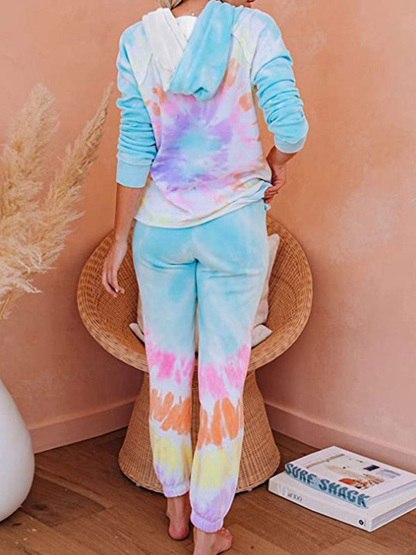 Tie-Dye Printed Long Sleeve Tops and Pants Long Hooded Pajamas Set - Luckinchic