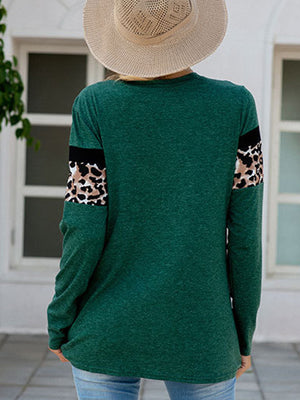 Casual Leopard Patchwork Long Sleeve T-Shirt Top - Luckinchic