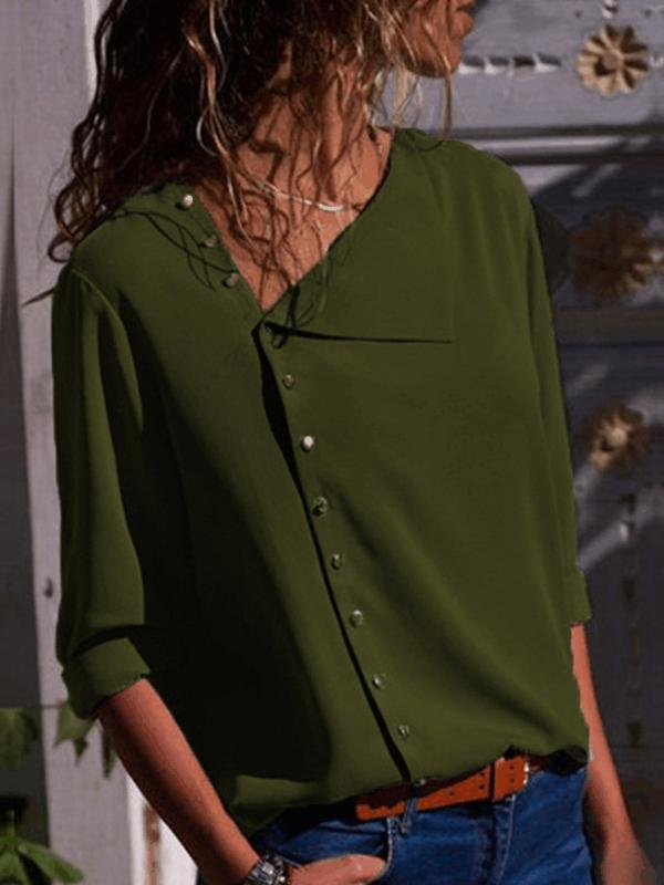 Turndown Neck Long Sleeve Buttons Blouse