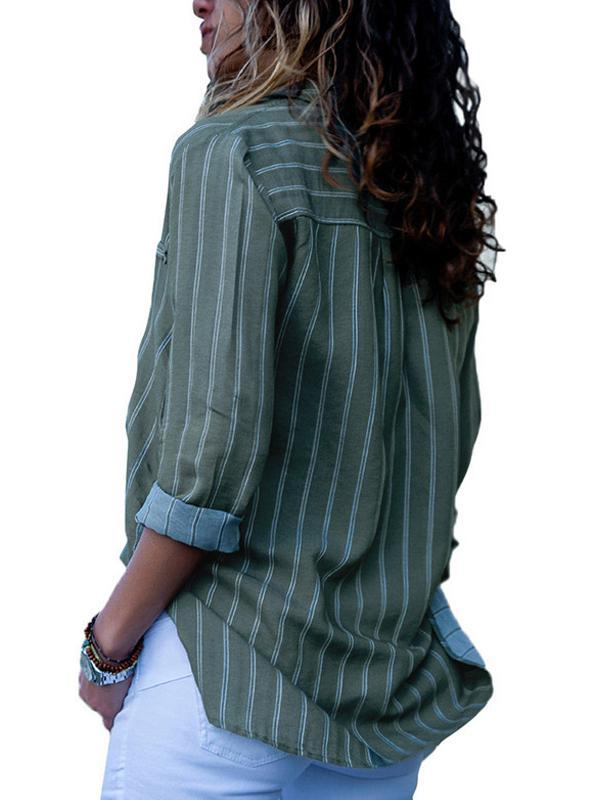 Casual Shirt Collar Striped Long Sleeve Blouse
