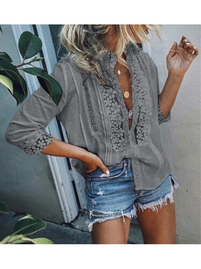 Solid 3/4 Sleeves Lace Blouses