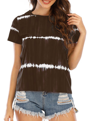 Casual Striped Printed Loose Home Fashion Short Sleeve T-Shirt - Luckinchic