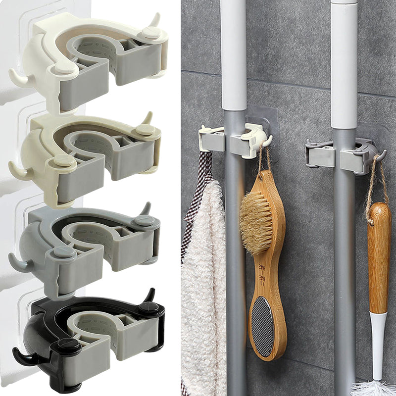 Mop and Broom Holder, Wall Mounted Mop Organizer Holder Brush Broom Hanger Storage Rack Kitchen Hook - Luckinchic - LuckinChic.com