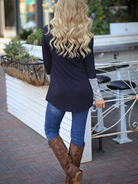Long Sleeve Stripe Casual Irregular Hem T shirt
