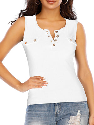 Casual Scoop Neck Sleeveless Solid Top - Luckinchic