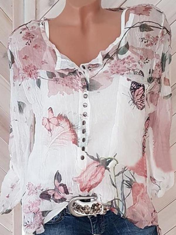 Fashionable Floral Printed Round-neck Long Sleeve Blouses - LuckinChic.com