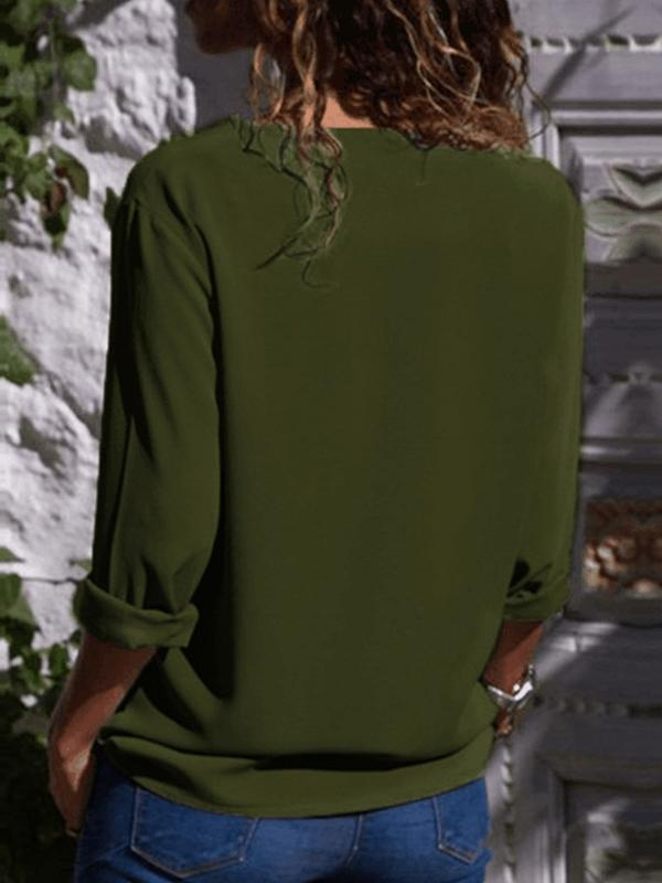 Turndown Neck Long Sleeve Buttons Blouse - LuckinChic.com