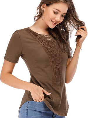 Fashion Short Sleeve Casual Lace Tops Cotton T Shirt - Luckinchic