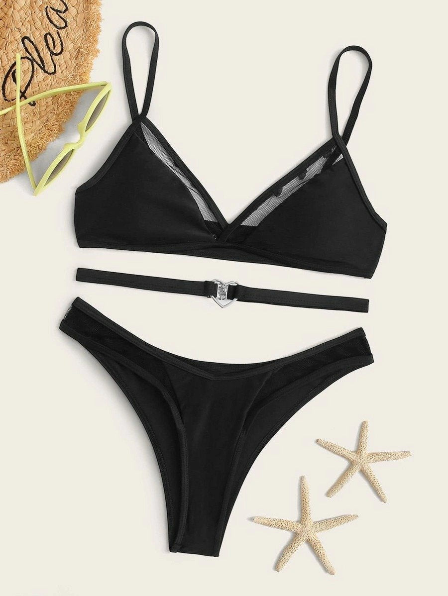 Contrast Mesh Top With High Cut Belted Bikini Set - Luckinchic