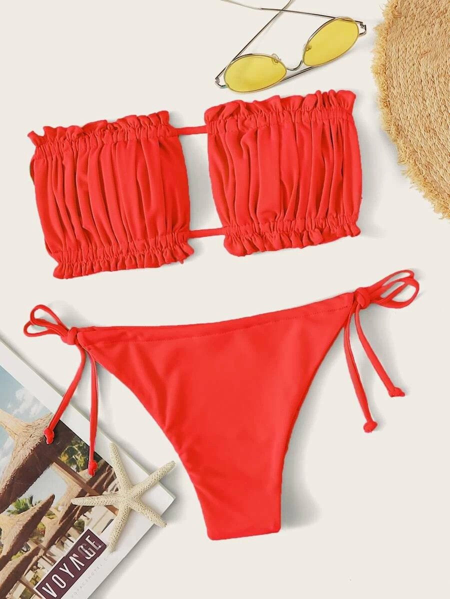 Ruched Bandeau With Tie Side Bikini Set - Luckinchic