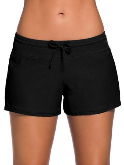 Solid Drawstring Waist Swimwear Shorts