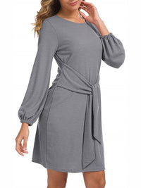 Casual Long Sleeve Knit Solid Color Round Neck Belt Dress - Luckinchic
