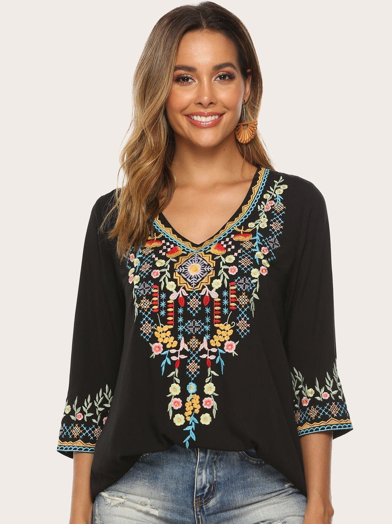 Elegant Floral Embroidery V-Neck 3/4 Sleeves Blouses