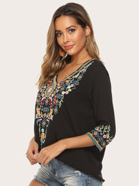 Elegant Floral Embroidery V-Neck 3/4 Sleeves Blouses Best Gifts for the Season & Christmas - Luckinchic - LuckinChic.com
