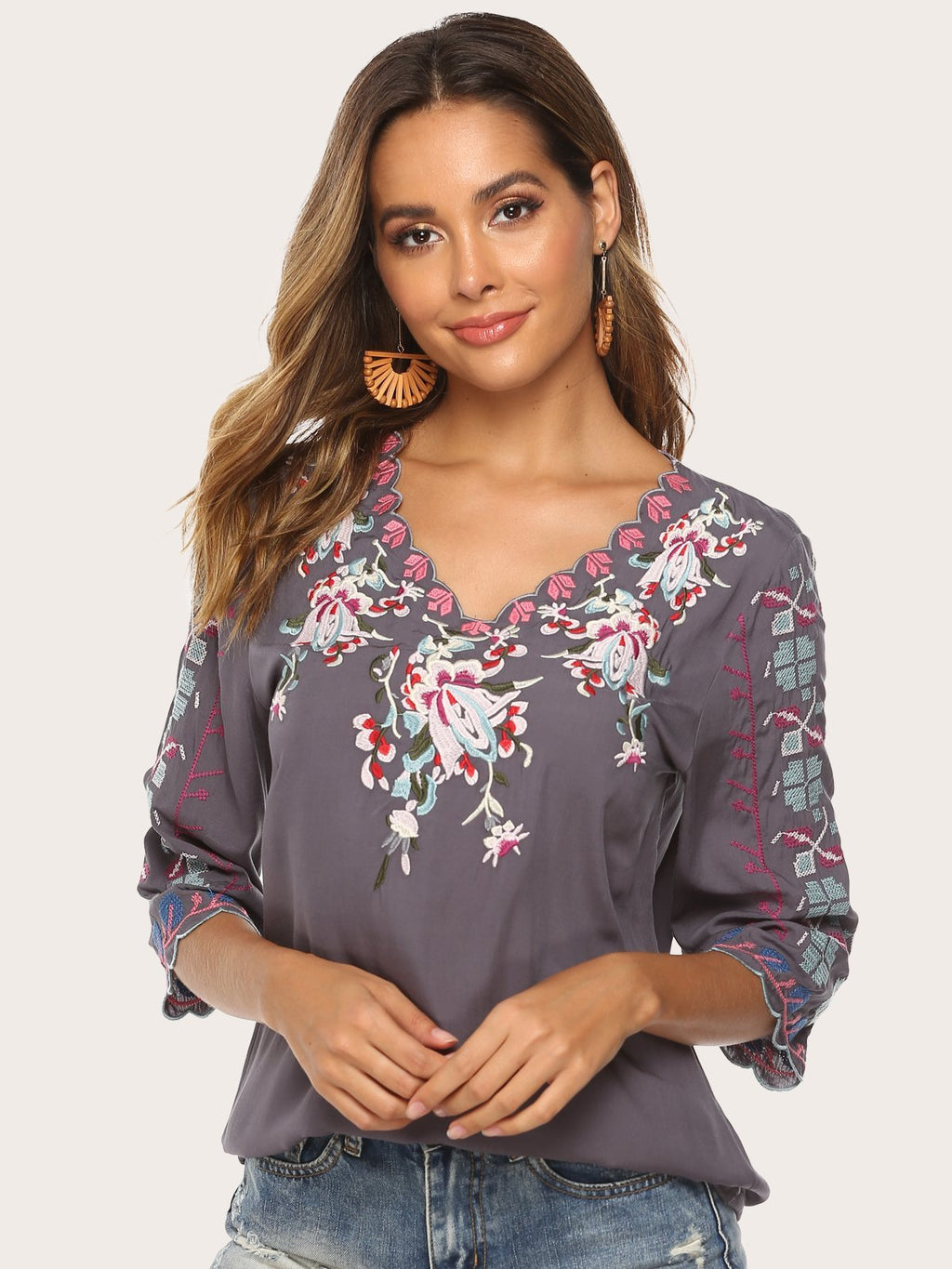 V Neck Embroidered Floral Bohemian Short Sleeve Blouses