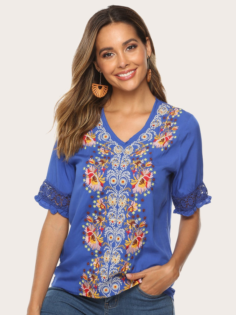 V Neck Floral Embroidered Bohemian Short Sleeve Blouses