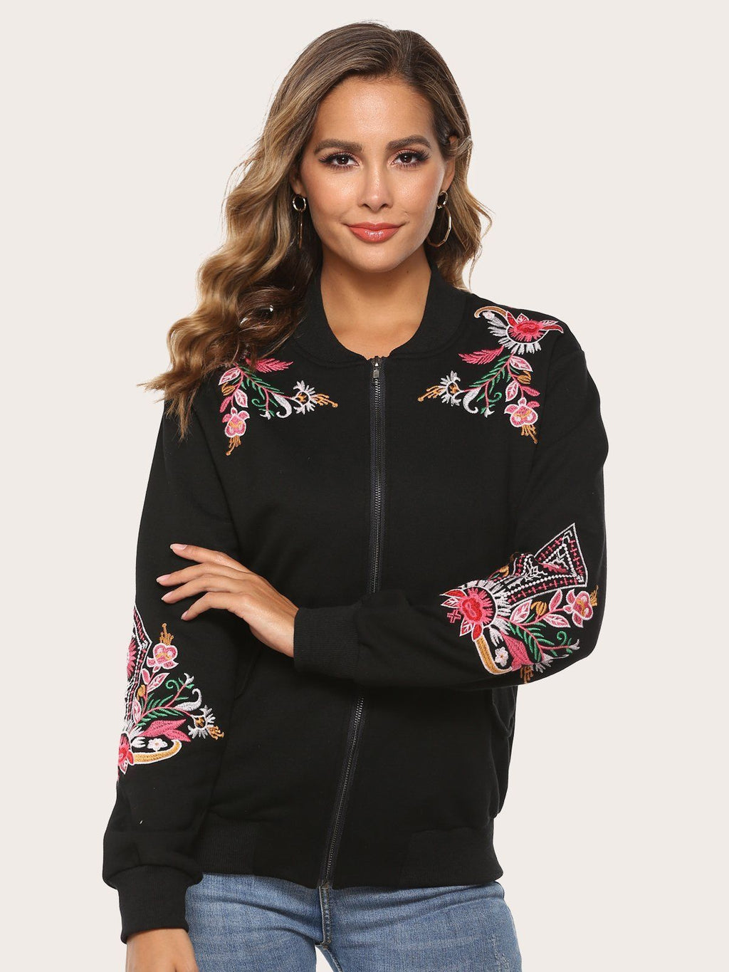 Floral Bohemian Embroidered Long Sleeve Zip Jackets Best Gifts for the Season & Christmas - Luckinchic - LuckinChic.com