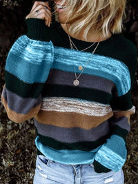 Casual Round Neck Color Block Long Sleeve Loose Striped Knitted Sweater - Luckinchic