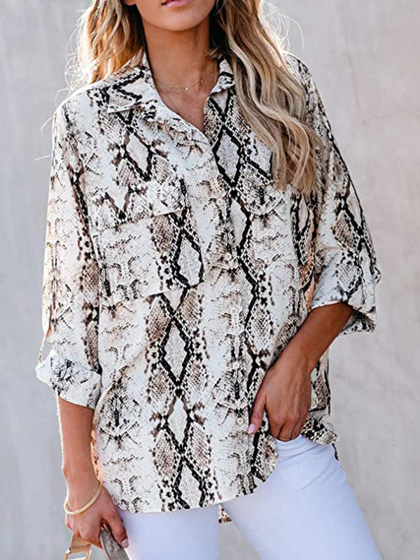 Casual Shirt Collar Leopard Printed Long Sleeve Button Down Blouses - Luckinchic