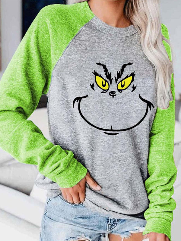 Casual Grinch Stole Christmas Print Graphic Tee Long Sleeve Sweatshirt Top - Luckinchic