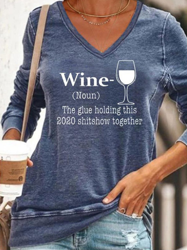 Casual V Neck Wine Glass Letters Print Long Sleeve Sweatshirt Tops - Luckinchic