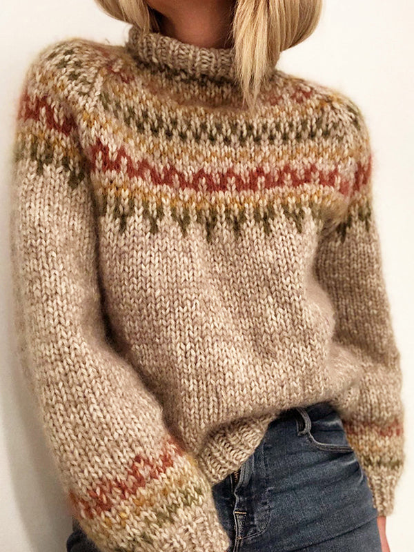 Casual Half High Neck Print Pullover Sweater - Luckinchic