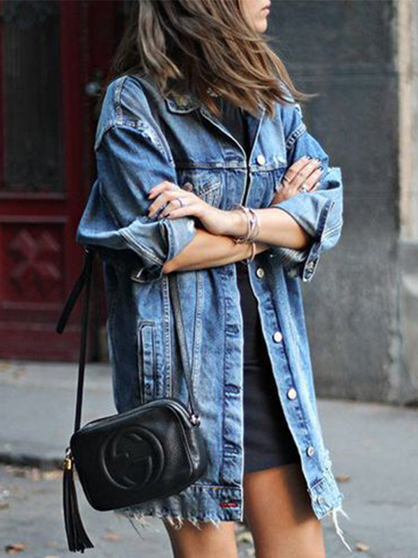 Casual Mid-Length Long Sleeve Ripped Holes Denim Outercoat - Luckinchic