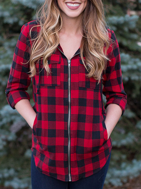 Casual Hooded Plaid Zip Coat With Pocket - Luckinchic