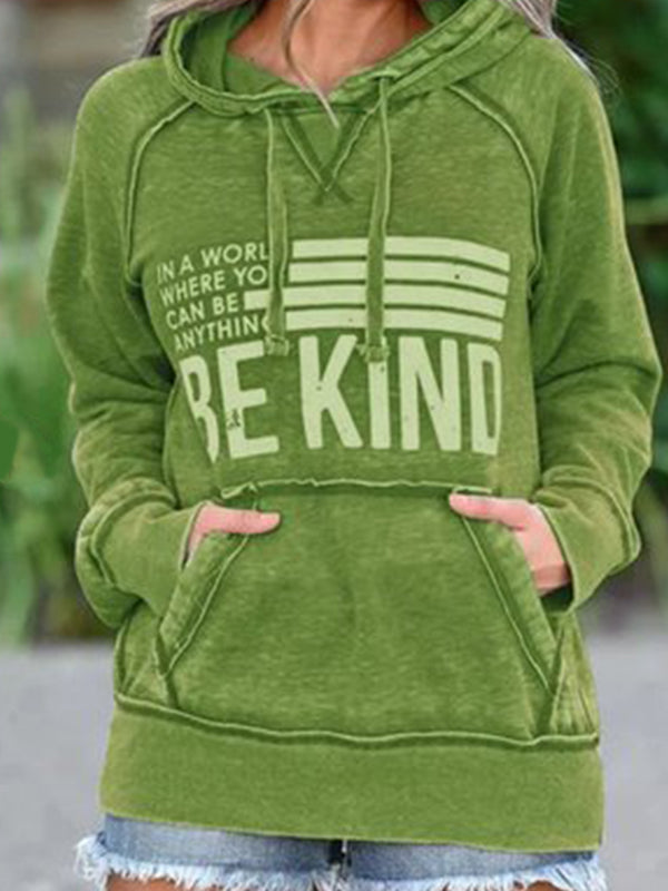 Casual Letter BE KIND Print Long Sleeve With Pocket Hoodie - Luckinchic