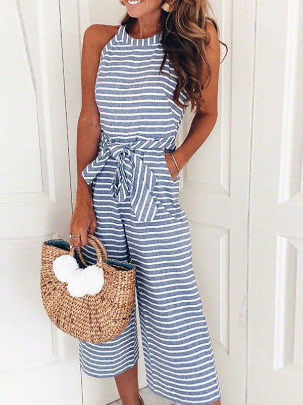 Striped Vacation Sleeveless round Neck Casual Jumpsuit
