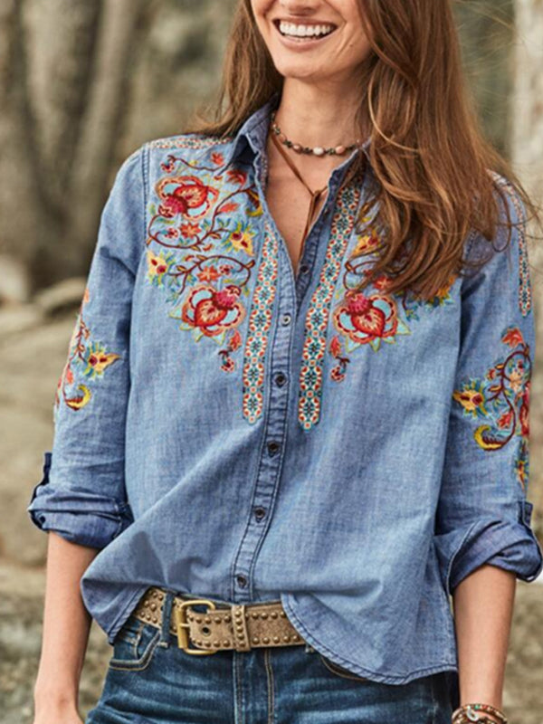 Casual Floral Embroidered Shirt Long Sleeve Blouse - Luckinchic