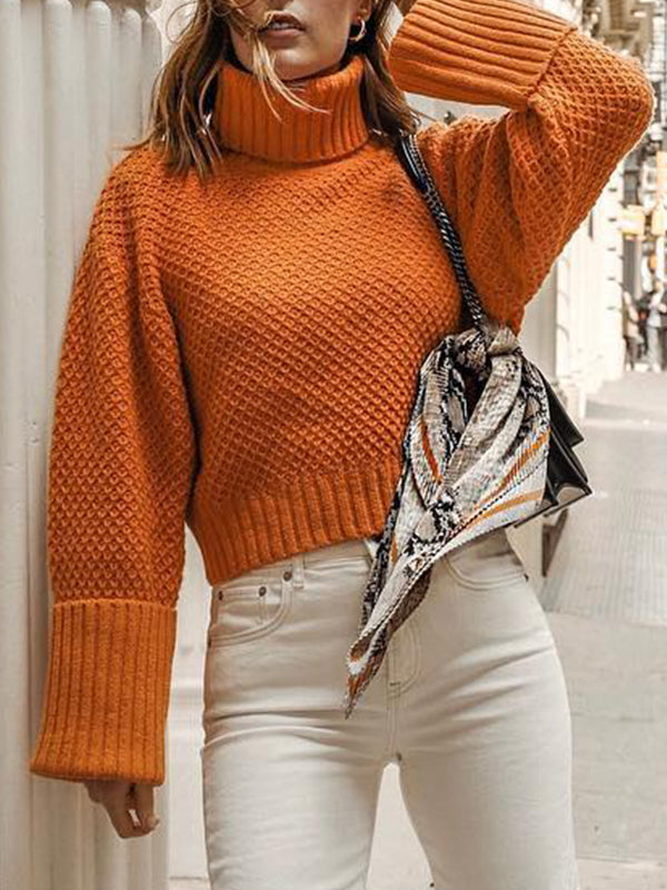 Solid Casual High Neck Long Sleeve Sweater - LuckinChic.com
