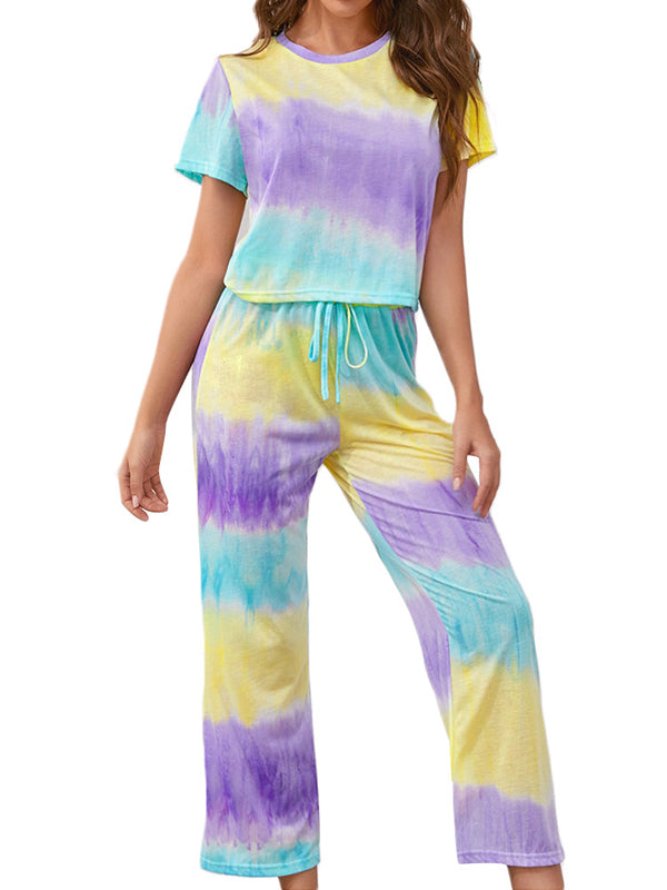 Casual Round Neck Tie Dye Printed Short Sleeve T-Shirt Tops And Pants 2Pcs Pajamas Set - Luckinchic