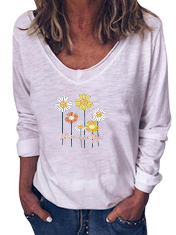 Casual V Neck Daisy Print Long Sleeve Pullover Loose Top - Luckinchic