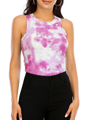 Casual Round Neck Tie Dye Tank Top - Luckinchic