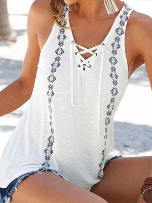 Lace-up V Neck Sleeveless Printed Tanks