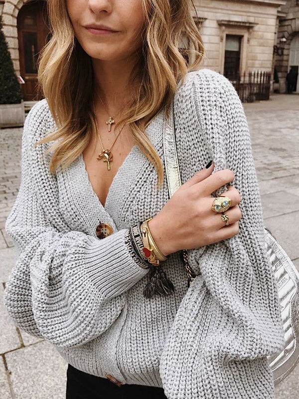 V-Neck Knit Button Sweater Coat Cardigan