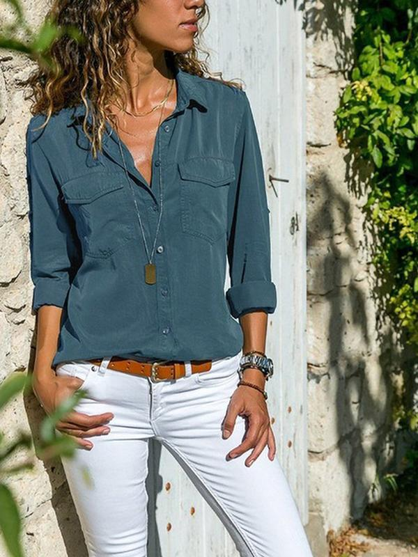 Clearance - Casual Solid V Neck Long Sleeve Shirt - Luckinchic - LuckinChic.com