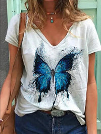 Casual V Neck Butterfly Print Short Sleeve T-Shirt - Luckinchic