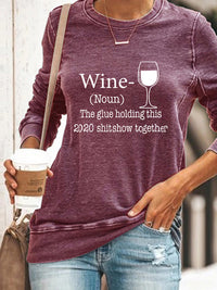Casual Round Neck Wine Glass Letters Print Long Sleeve Sweatshirt Tops - Luckinchic