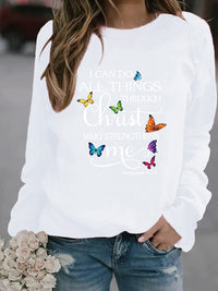 Casual Round Neck Butterfly Letter Print Long Sleeve Sweatshirt Top - Luckinchic