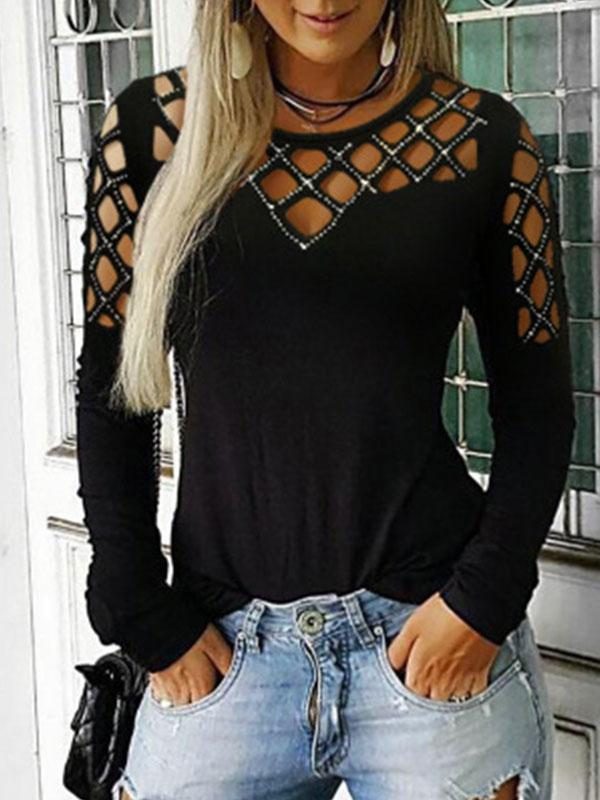 Round Neck Hollow Out Long Sleeve T Shirts - LuckinChic.com