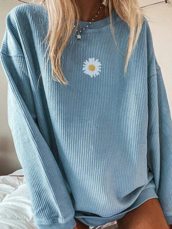 Casual Round Neck Daisy Print Solid Color Long Sleeve Sweatshirt Top - Luckinchic